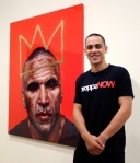 "Abdul Abdullah with his portrait of Boxer, Anthony Mundine ""The Man"""
