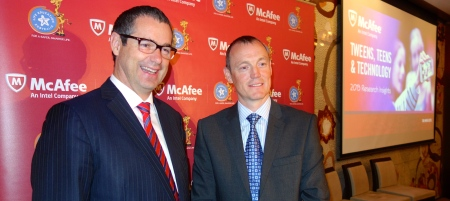 Senator the Hon. Stephen Conroy with Mr Andrew Littleproud at McAfee Presentation