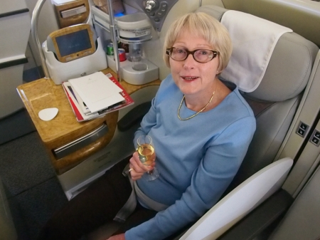 Sandra Tiltman Enjoying Emirates A380 Business Class