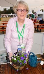 Sandra Tiltman with hanging basket
