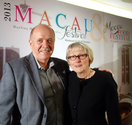 Macau Tourism's Mike Smith with Sandra Tiltman