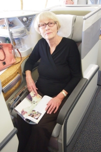 Sandra Tiltman enjoying Emirates Business Class (no seat rage here)
