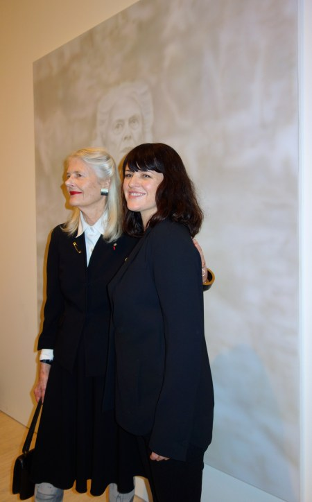 Penelope Seidler & Fiona Lowry in front of Archibald Prize Winning Portrait