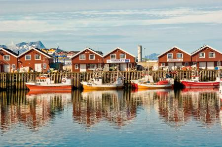 A clear sunny day brings out the colors in Bodo's fishing harbor Norway