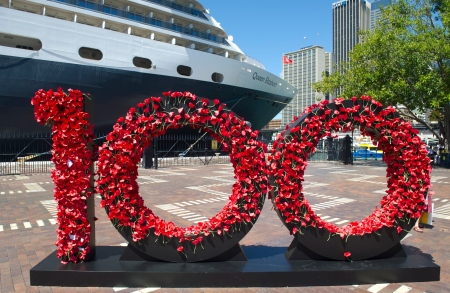 Queen Elizabeth poppy wall in Sydney