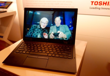 Sandra Tillman & John Pond check out latest Toshiba