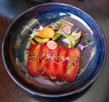 Beetroot Cured Salmon with Pickled Vegetables