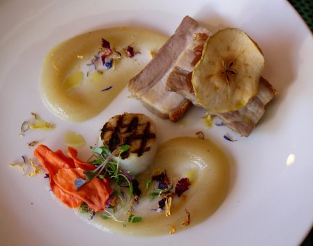 Double Cooked Pork Belly with Granny Smith Apple Puree, Grilled Scallop and Vegetable Chips