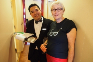 Sandra Tillman with our Personal Butler on Silver Spirit