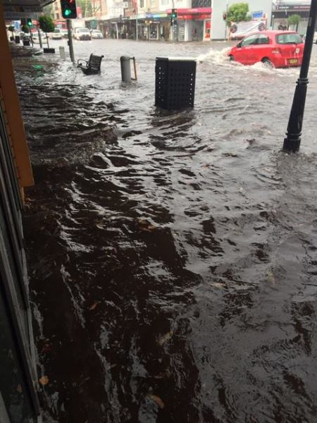 Flood in Rose Bay's main street